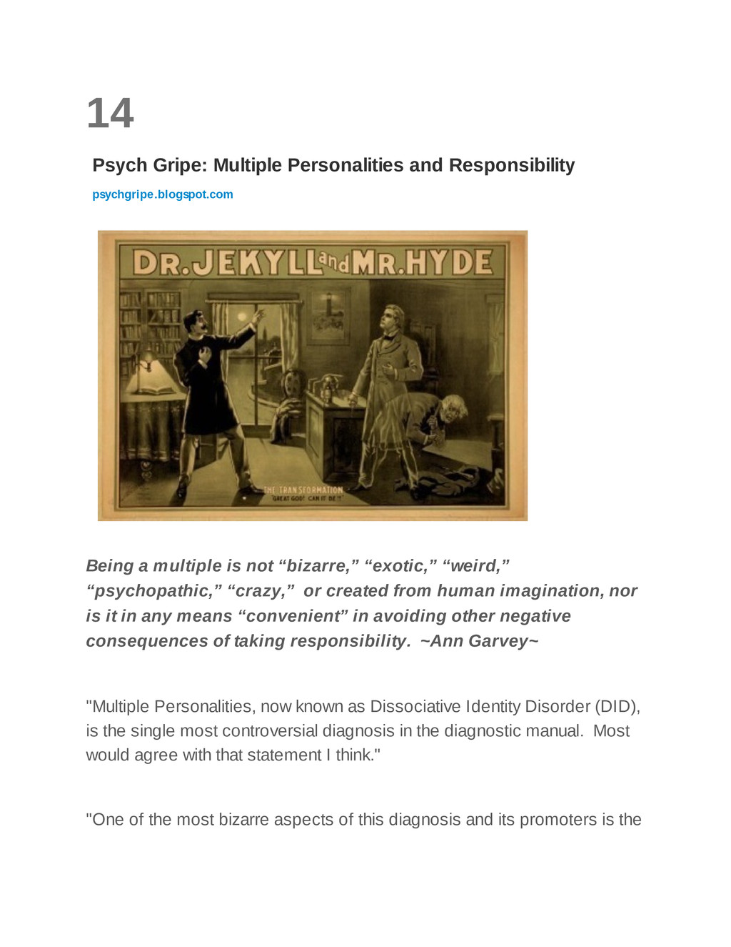 14 Psych Gripe: Multiple Personalities and Resp...