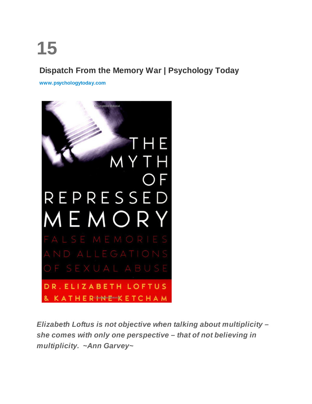 15 Dispatch From the Memory War | Psychology To...