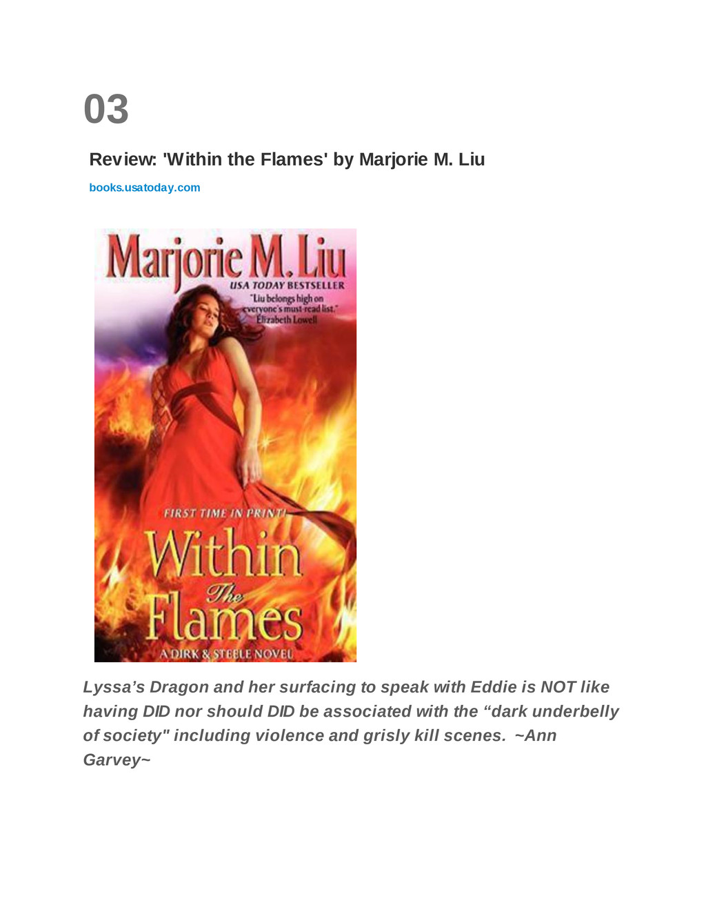 03 Review: 'Within the Flames' by Marjorie M. L...