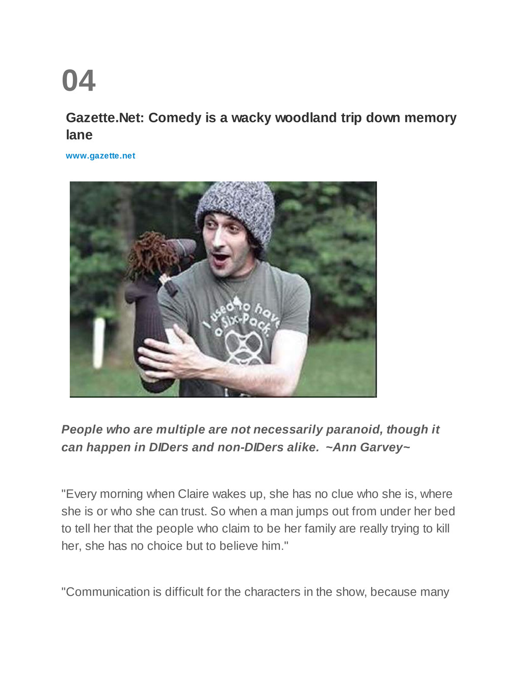 04 Gazette.Net: Comedy is a wacky woodland trip...