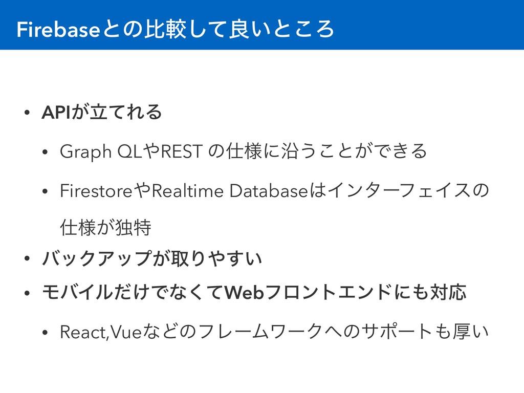 Firebaseͱͷൺֱͯ͠ྑ͍ͱ͜Ζ • APIཱ͕ͯΕΔ • Graph QLREST ...