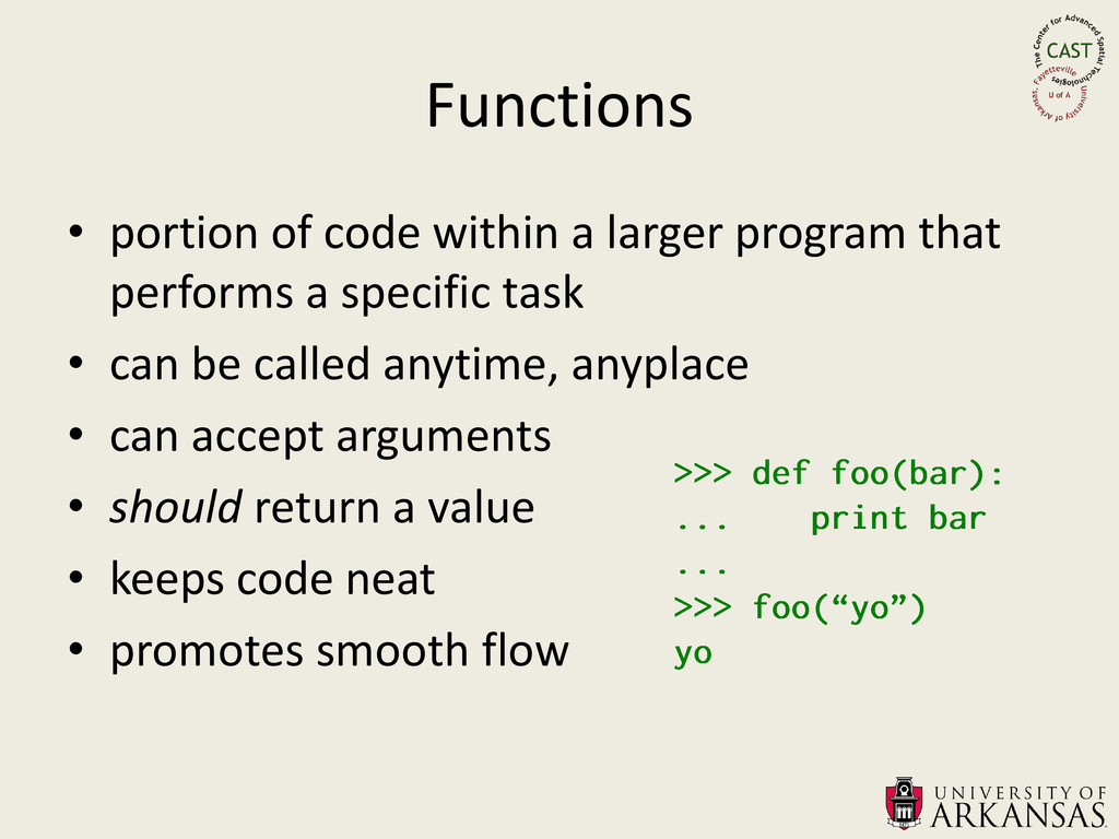 Functions • portion of code within a larger pro...