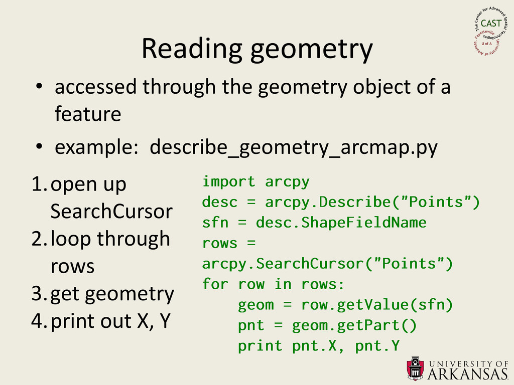 Reading geometry • accessed through the geometr...