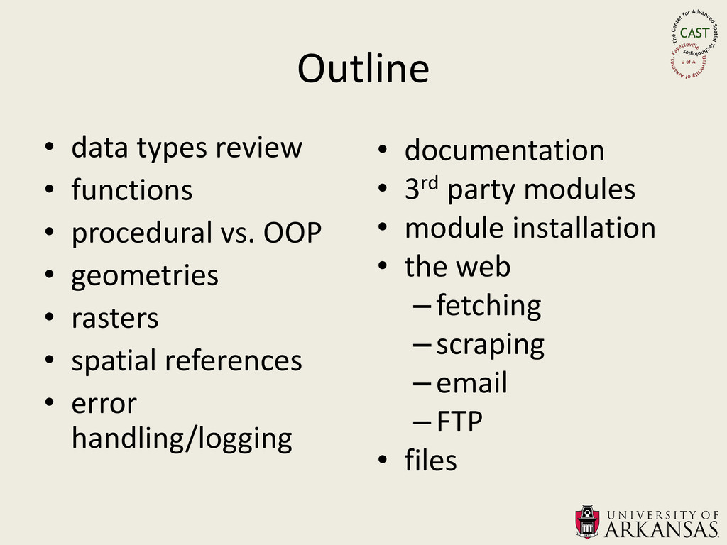 Outline • data types review • functions • proce...