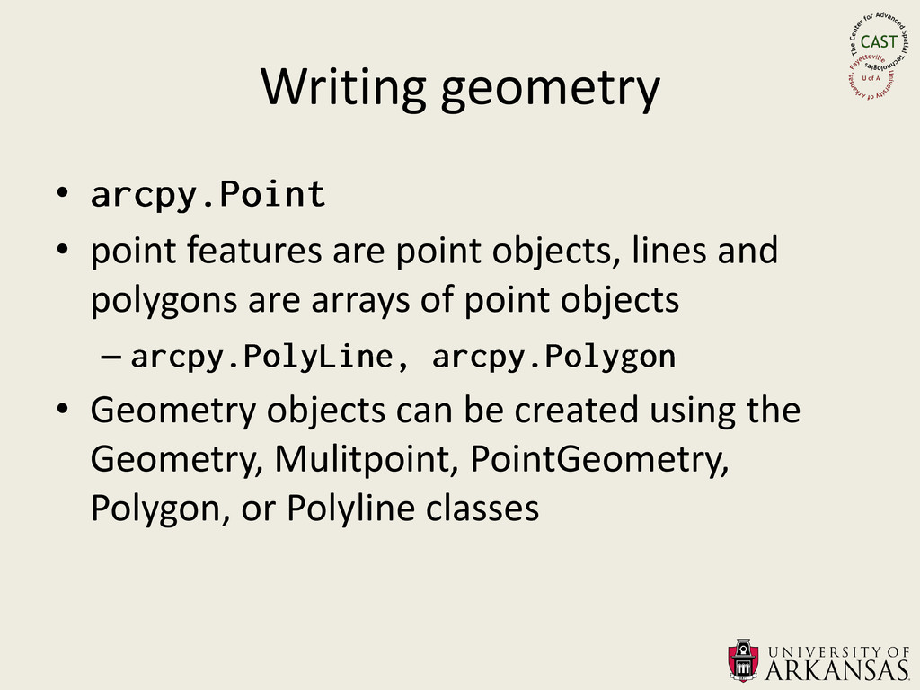 Writing geometry • • point features are point o...