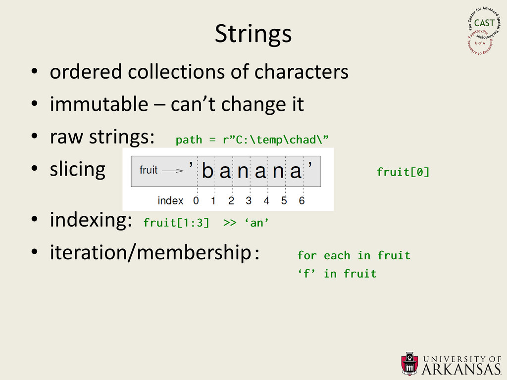 Strings • ordered collections of characters • i...