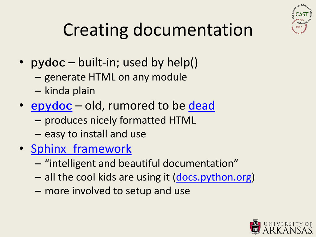 Creating documentation • – built-in; used by he...