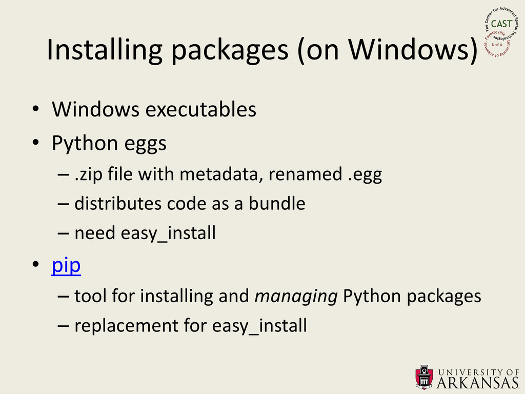 Installing packages (on Windows) • Windows exec...