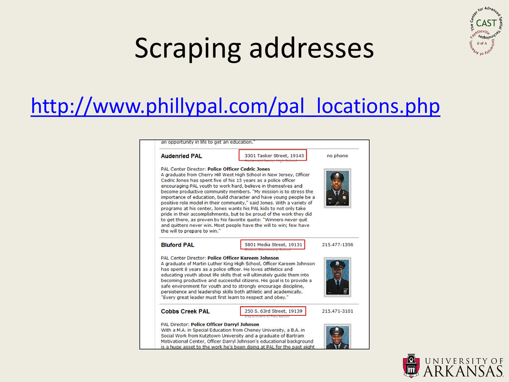 Scraping addresses http://www.phillypal.com/pal...
