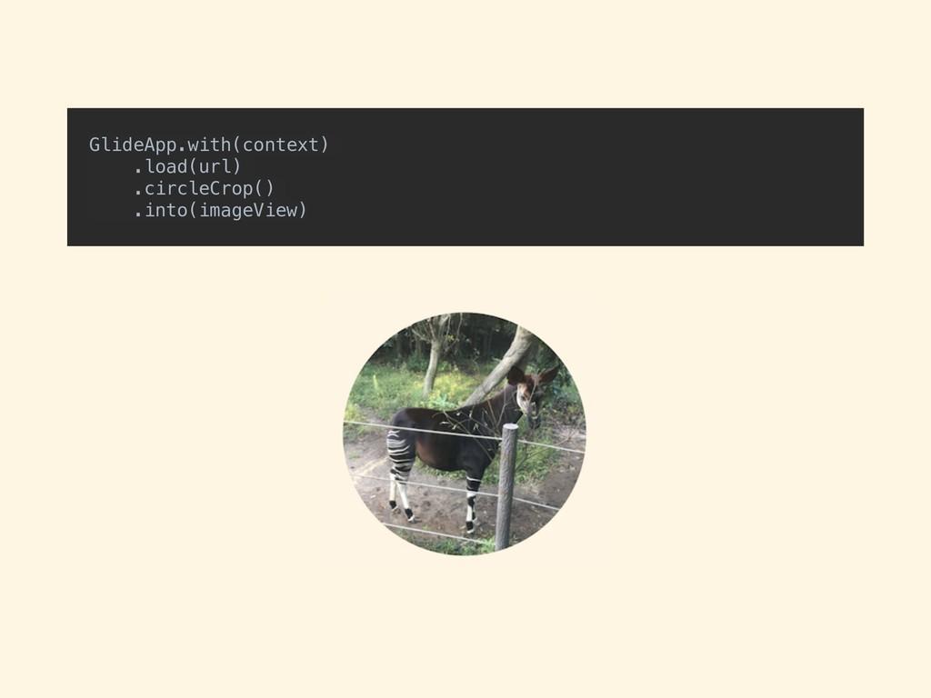 GlideApp.with(context) .load(url) .circleCrop()...