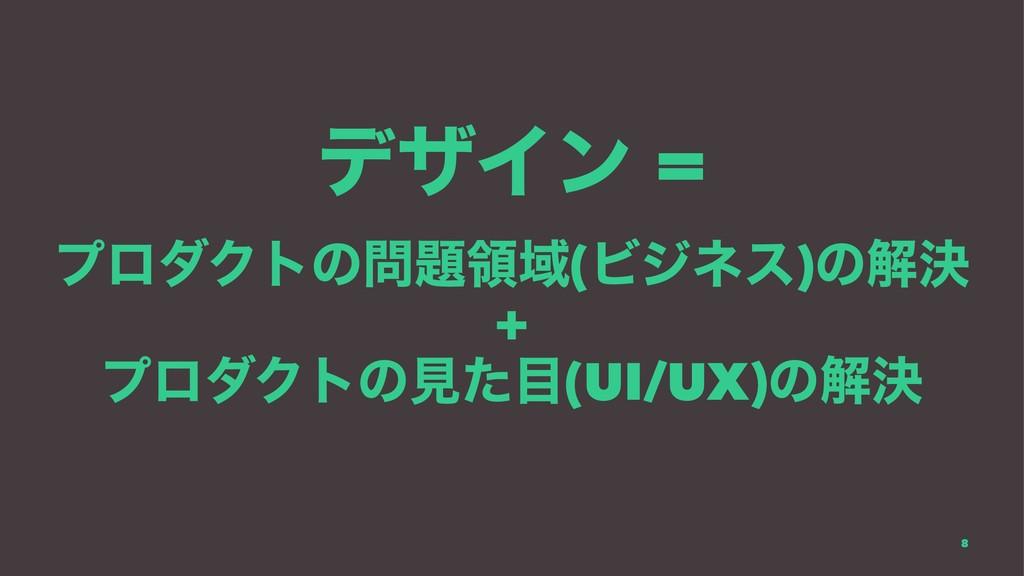 σβΠϯ = ϓϩμΫτͷྖҬ(Ϗδωε)ͷղܾ + ϓϩμΫτͷݟͨ(UI/UX)ͷղ...