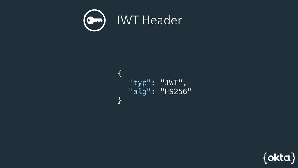 """JWT Header { """"typ"""": """"JWT"""", """"alg"""": """"HS256"""" }"""