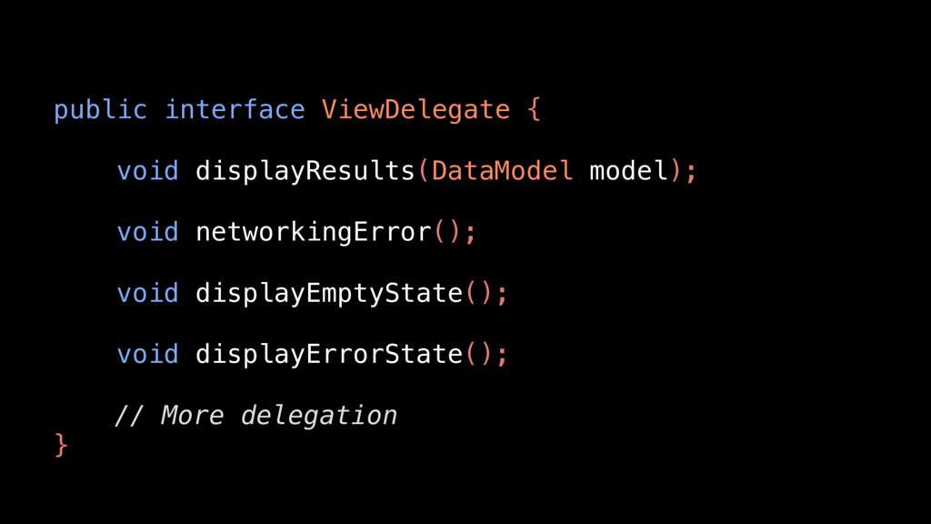 public interface ViewDelegate { void displayRes...