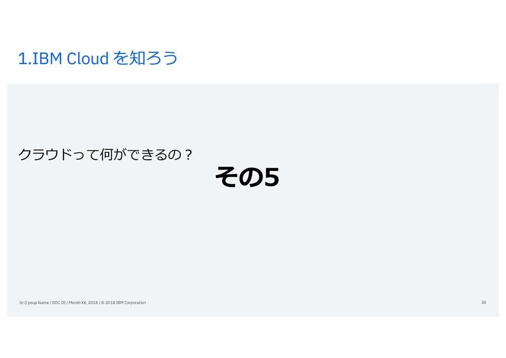 1.IBM Cloud を知ろう クラウドって何ができるの? その5 Grさpoup Name...