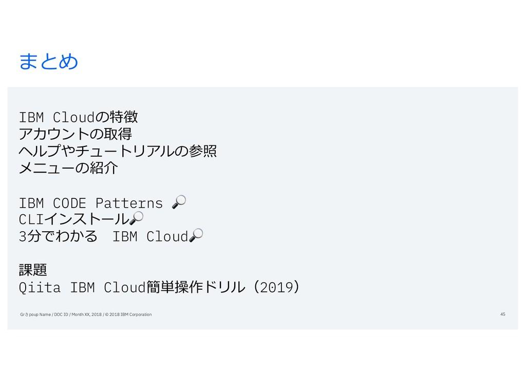 まとめ IBM Cloudの特徴 アカウントの取得 ヘルプやチュートリアルの参照 メニューの紹...