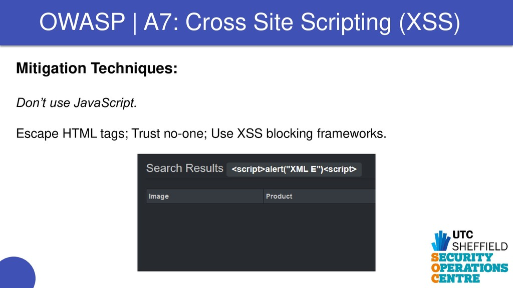 Mitigation Techniques: Don't use JavaScript. Es...