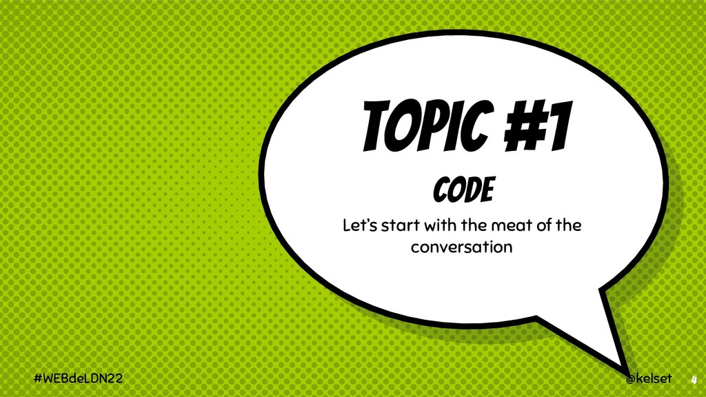 TOPIC #1 CODE Let's start with the meat of the ...