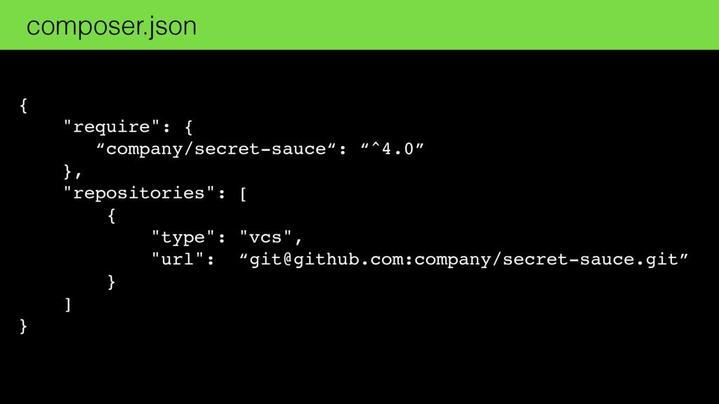 "{ ""require"": { ""company/secret-sauce"": ""^4.0"" }..."