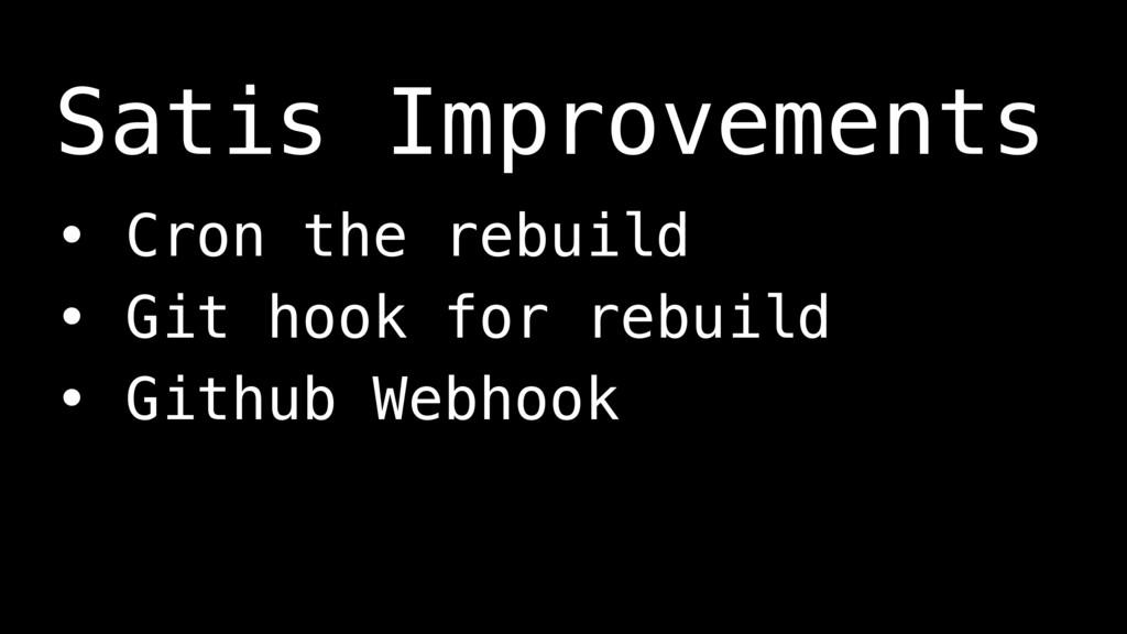 • Cron the rebuild • Git hook for rebuild • Git...