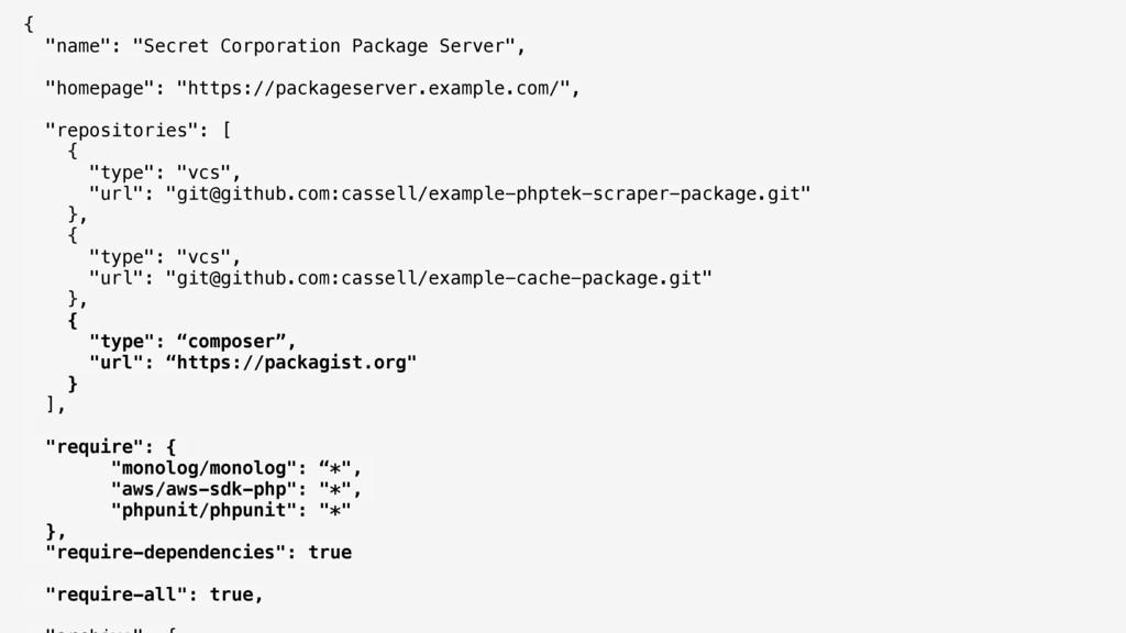 """{ """"name"""": """"Secret Corporation Package Server"""",..."""