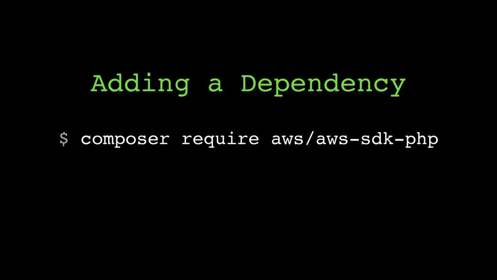 $ composer require aws/aws-sdk-php Adding a Dep...