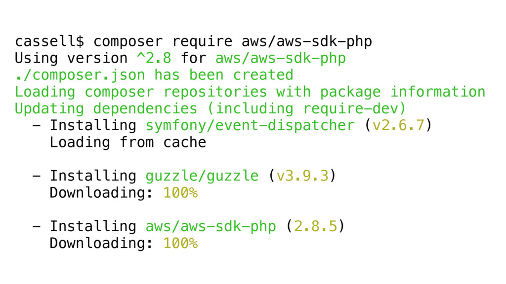 cassell$ composer require aws/aws-sdk-php Using...