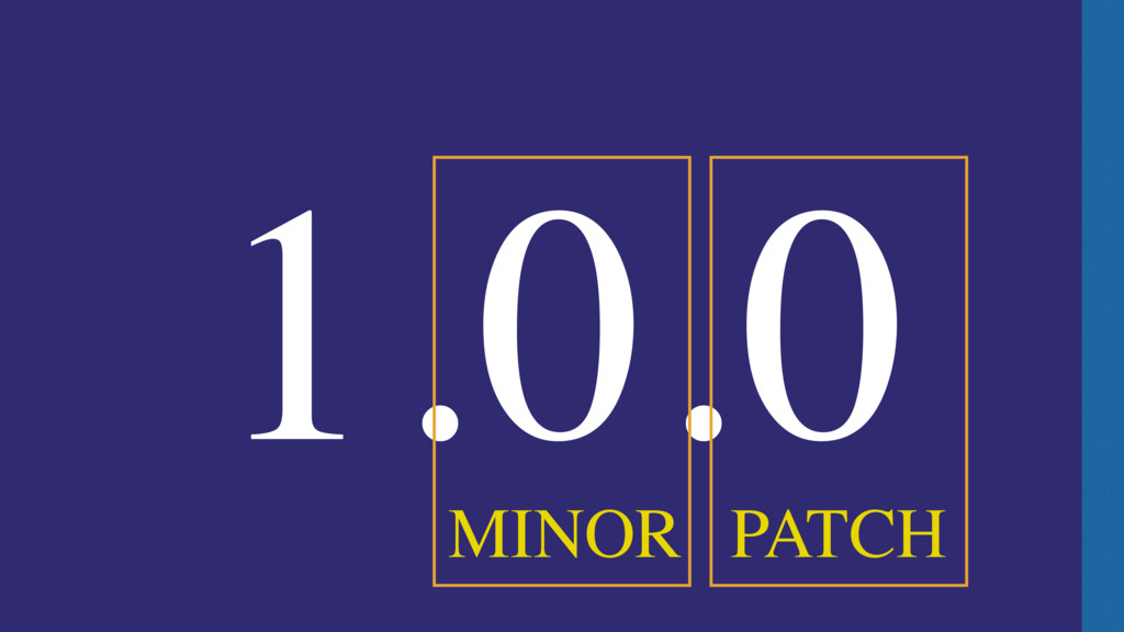 1.0.0 PATCH MINOR
