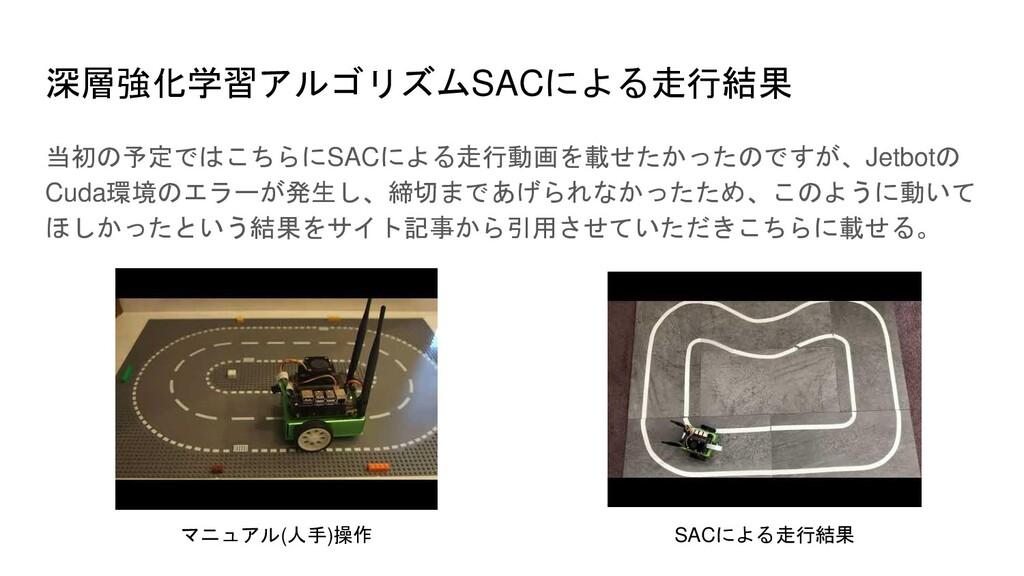 深層強化学習アルゴリズムSACによる走行結果 当初の予定ではこちらにSACによる走行動画を載せ...