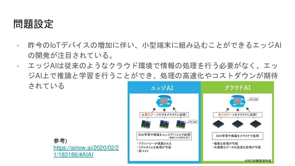 問題設定 - 昨今のIoTデバイスの増加に伴い、小型端末に組み込むことができるエッジAI の開...