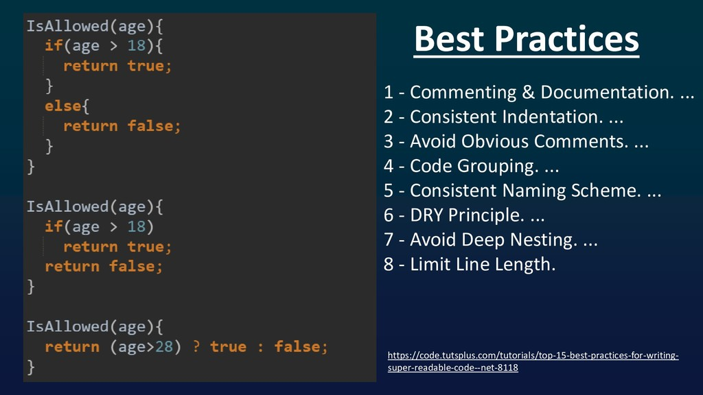 Best Practices 1 - Commenting & Documentation. ...