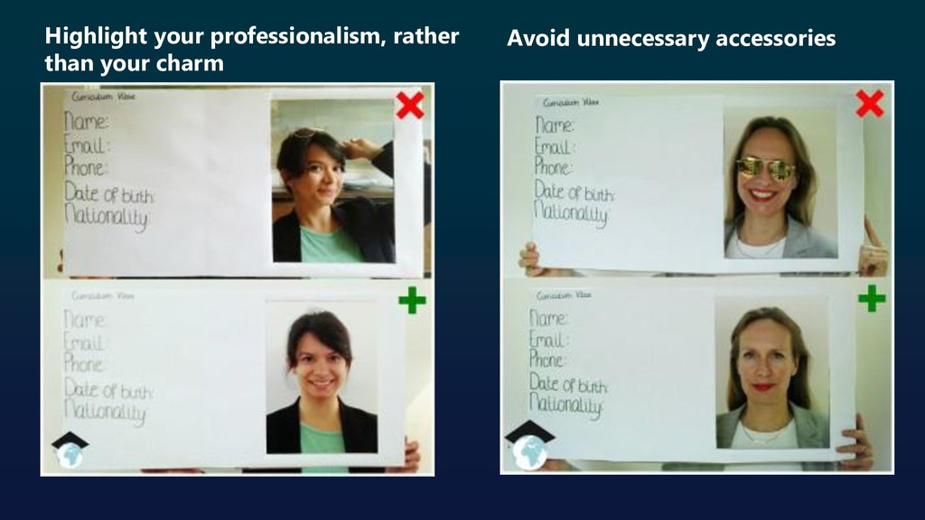 Highlight your professionalism, rather than you...
