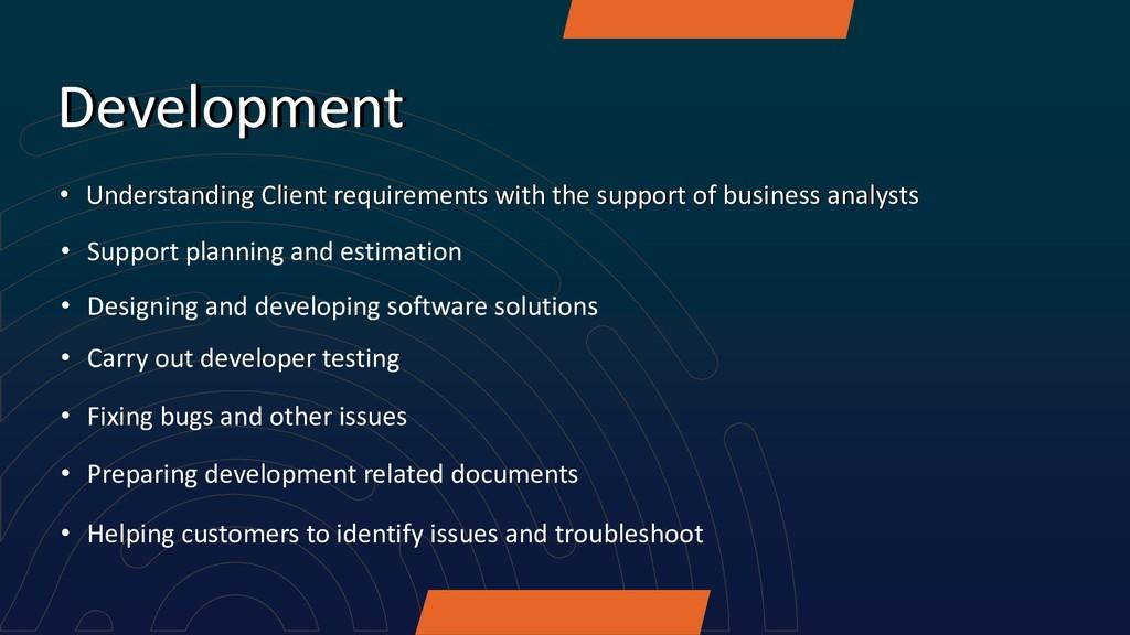 Development • Understanding Client requirements...