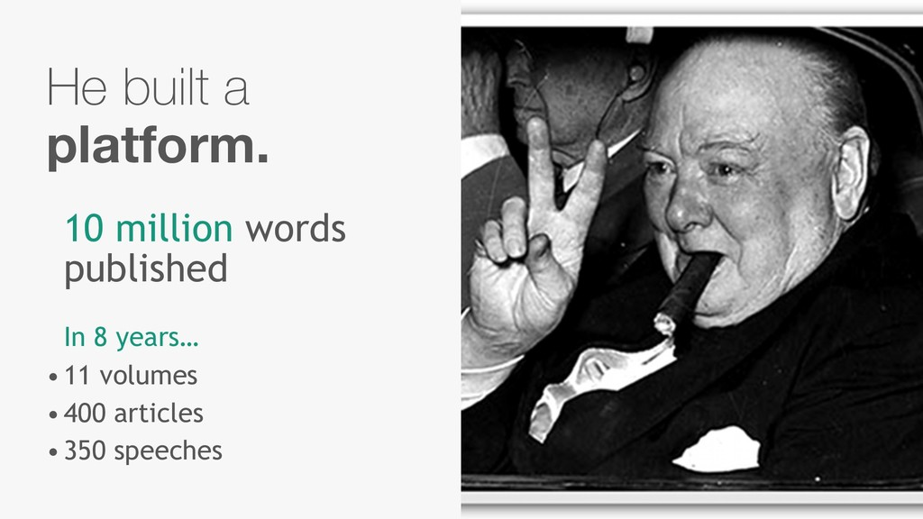 He built a platform. 10 million words published...