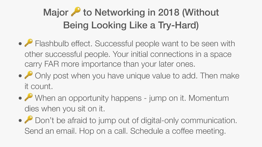 Major  to Networking in 2018 (Without Being Loo...