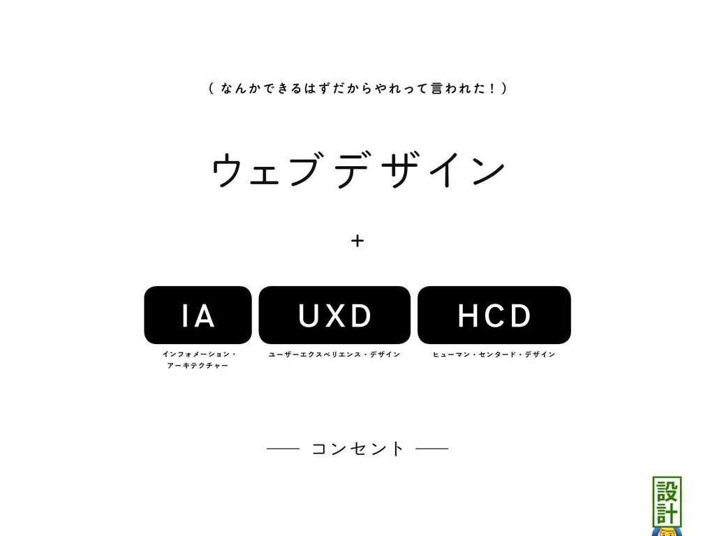 ウェブデ ザイン UXD HCD IA + ᴷ コンセント ᴷ ʢ なんかできるはずだからやれ...