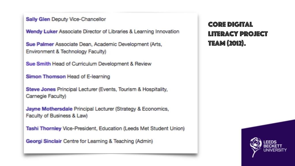 Core digital literacy project team (2012).