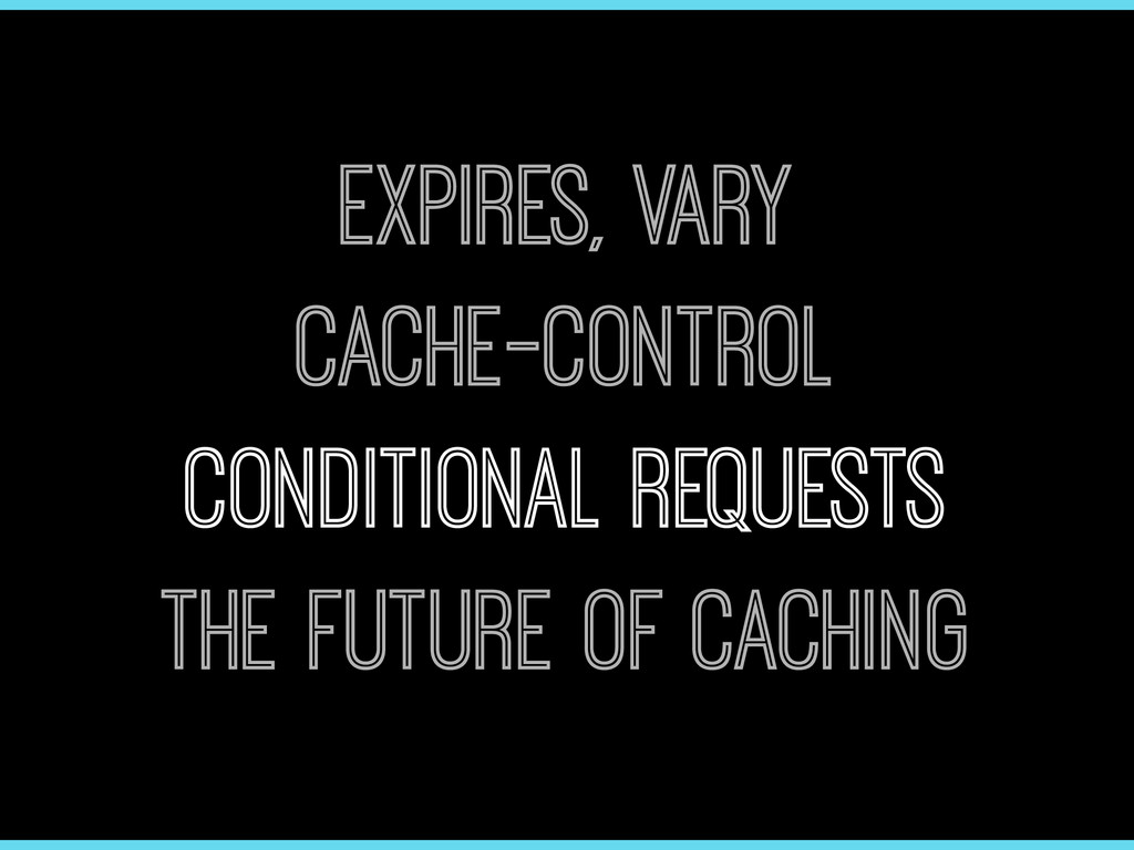 Expires, Vary Cache-Control Conditional Request...