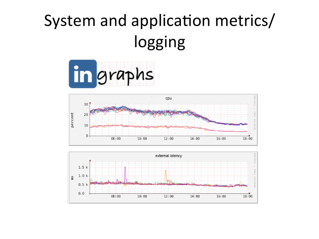 System and applicaIon metrics/ logging...