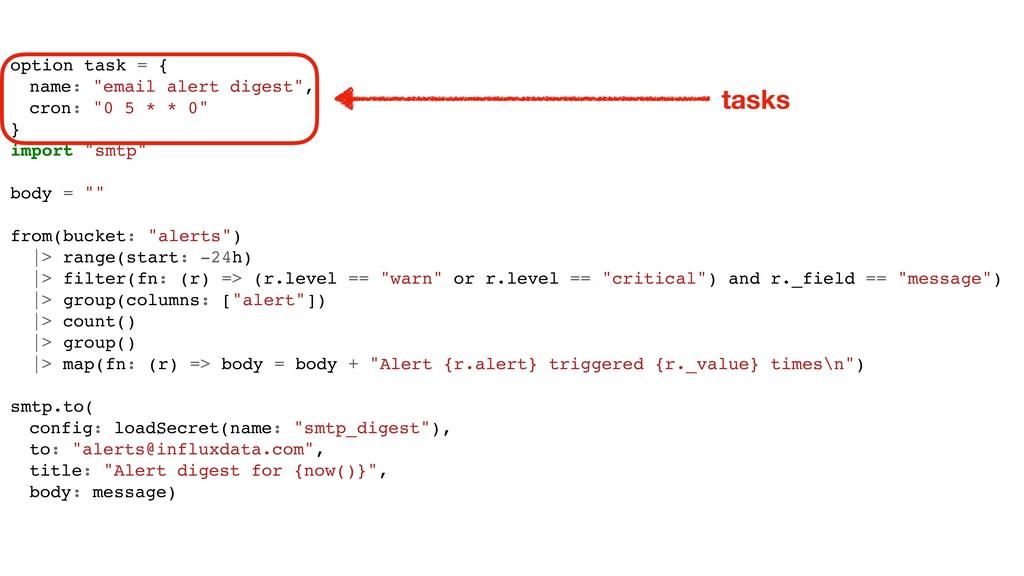 """option task = { name: """"email alert digest"""", cro..."""