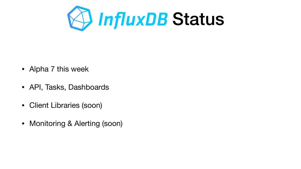 Status • Alpha 7 this week  • API, Tasks, Dashb...