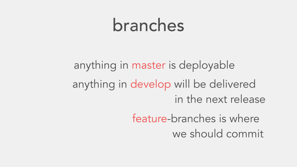 branches anything in master is deployable anyth...