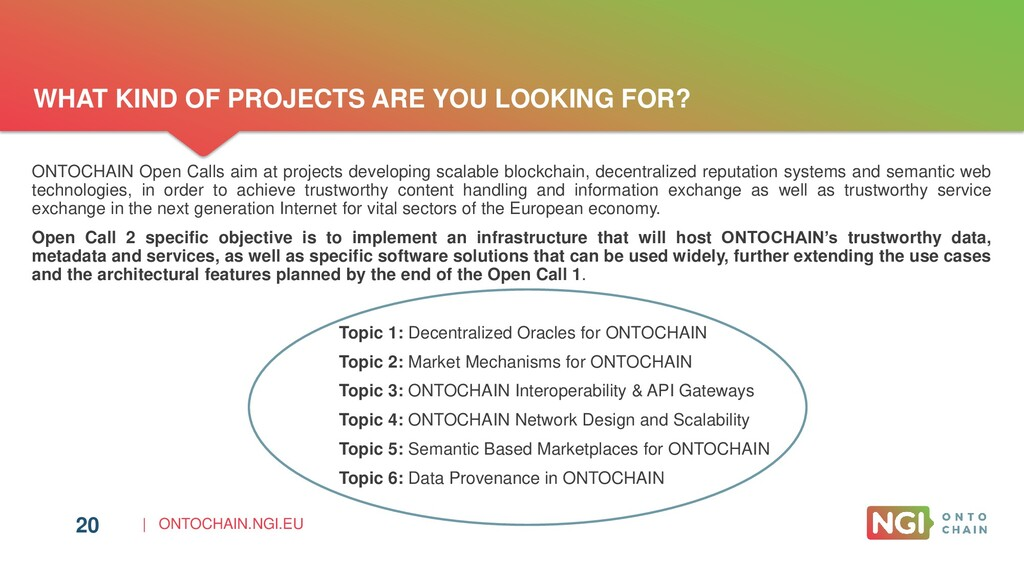 | ONTOCHAIN.NGI.EU 20 ONTOCHAIN Open Calls aim ...