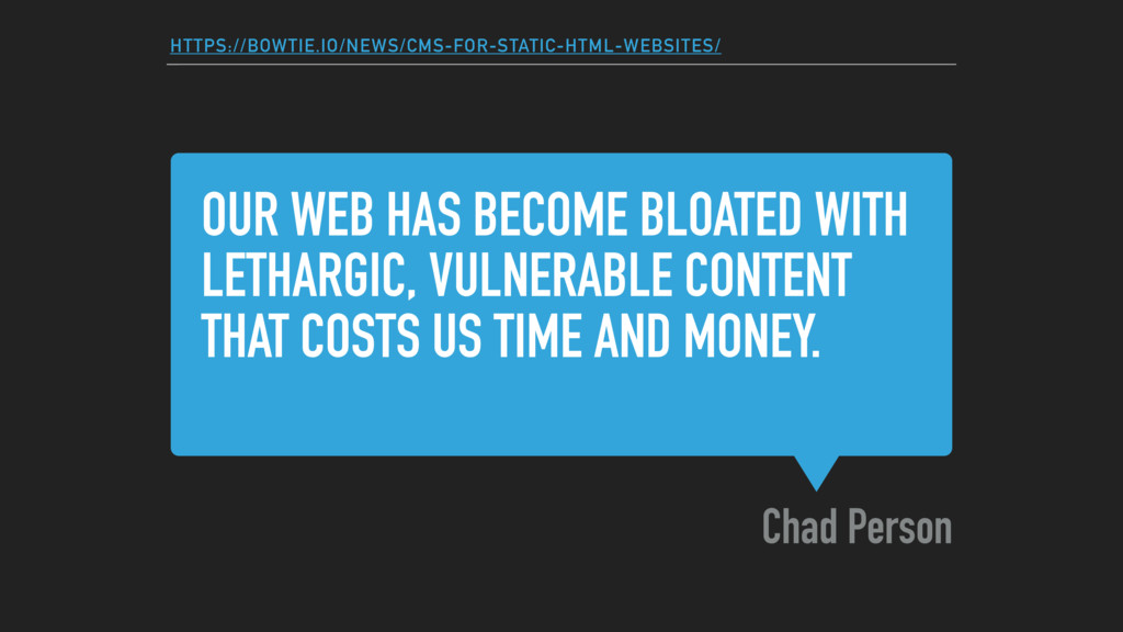 OUR WEB HAS BECOME BLOATED WITH LETHARGIC, VULN...