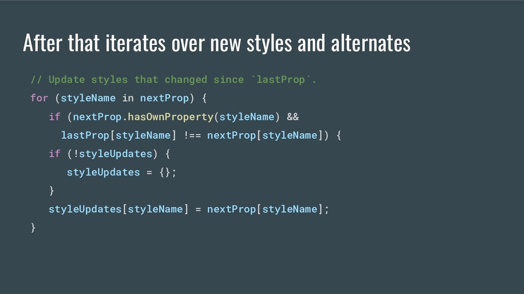 // Update styles that changed since `lastProp`....