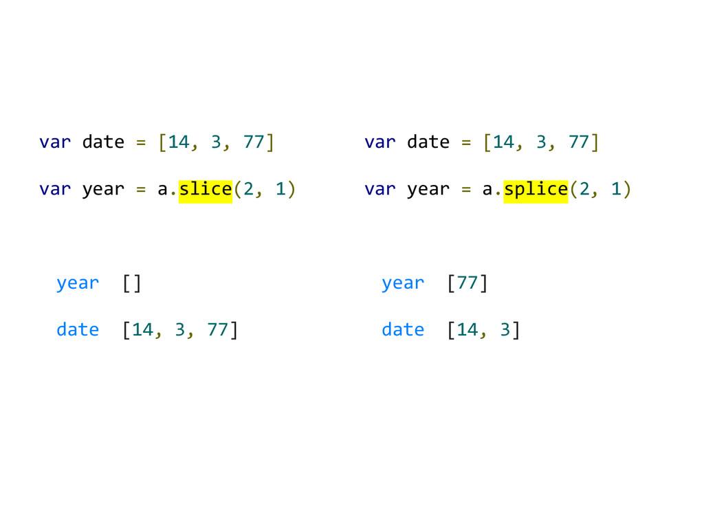 var date = [14, 3, 77] var year = a.slice(2, 1)...