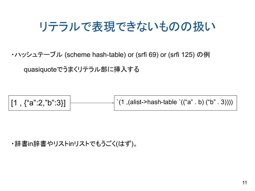 リテラルで表現できないものの扱い ・ハッシュテーブル (scheme hash-table) ...