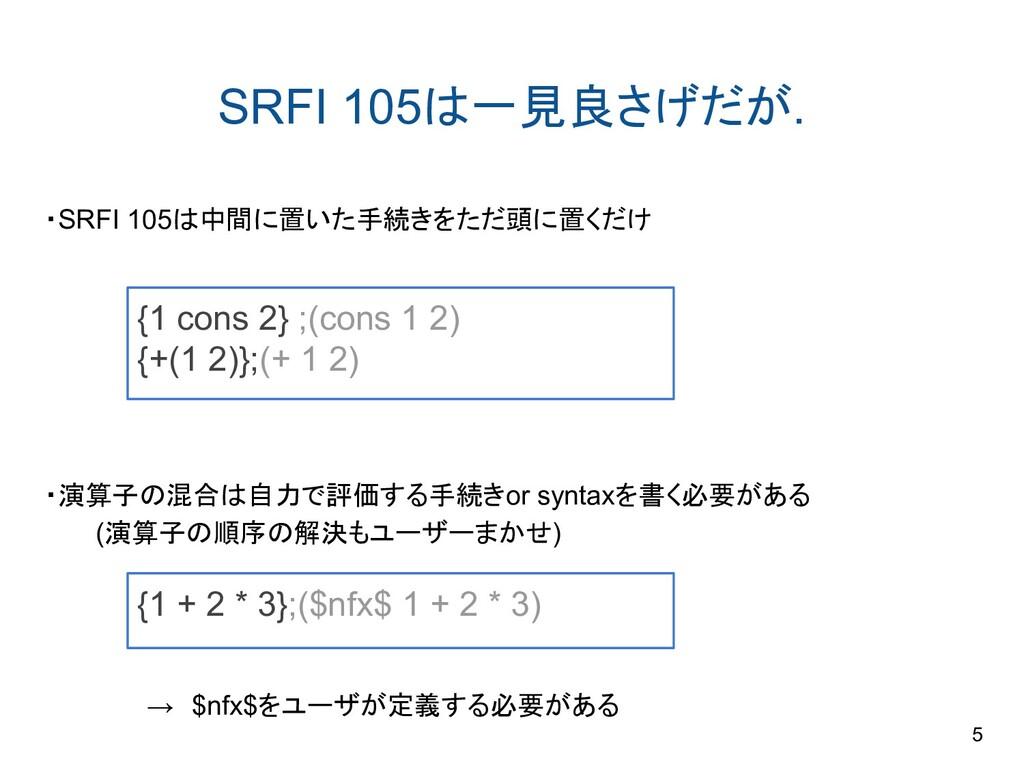 SRFI 105は一見良さげだが. ・SRFI 105は中間に置いた手続きをただ頭に置くだけ ...
