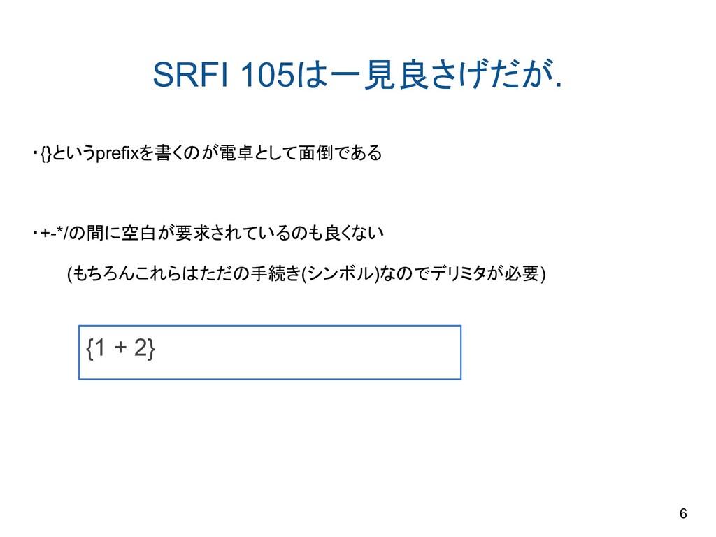 SRFI 105は一見良さげだが. ・{}というprefixを書くのが電卓として面倒である ・...