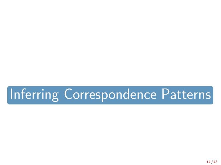 Inferring Correspondence Patterns 14 / 45