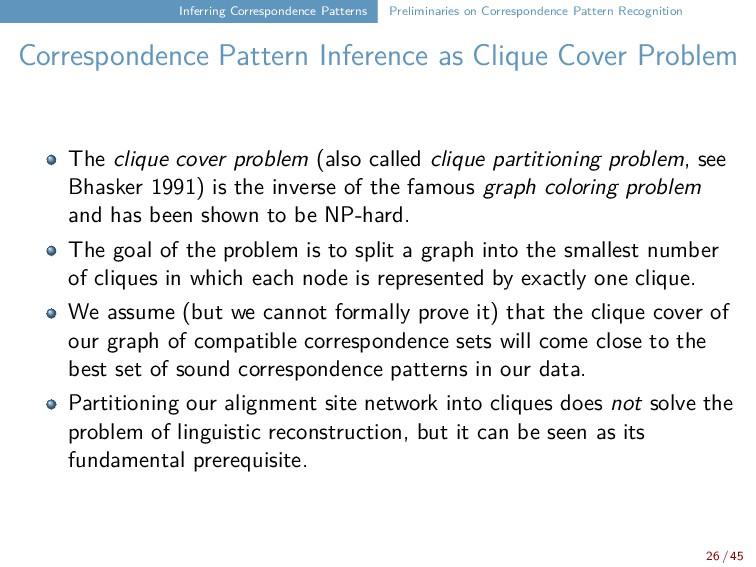 Inferring Correspondence Patterns Preliminaries...